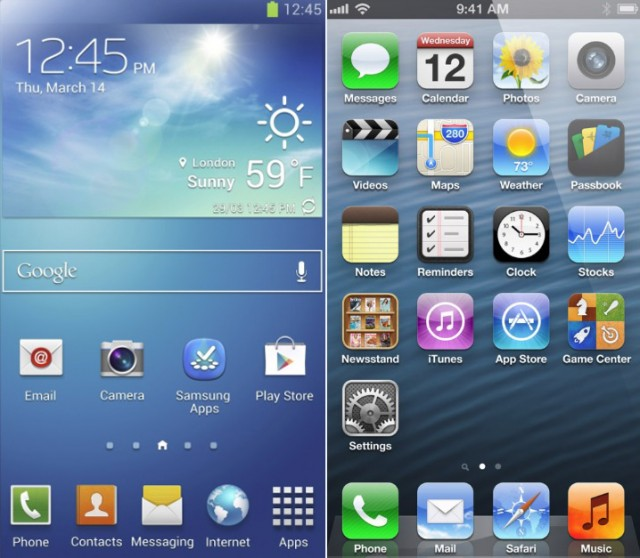galaxy-s4-home-screen-vs-ios-iphone-home-screen-640x558